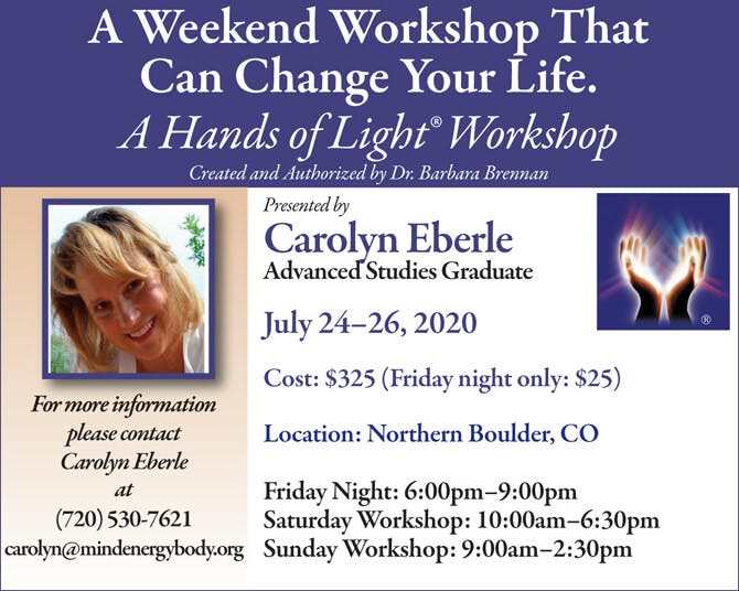 Hands of Light Workshop in Northern Boulder, Colorado