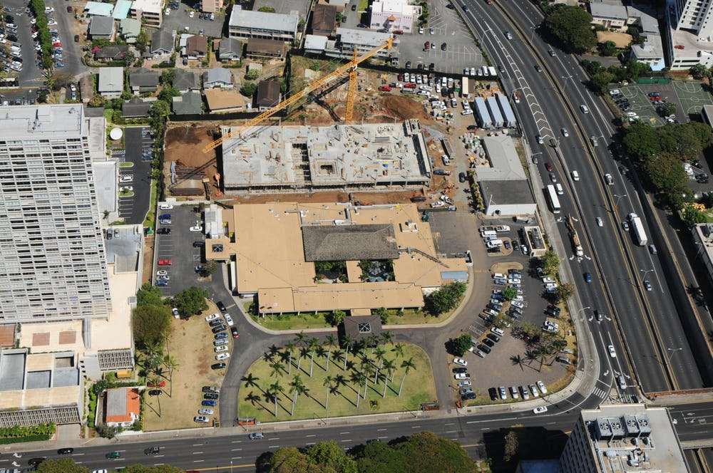 Aerial view of construction
