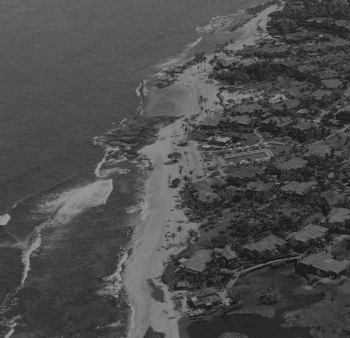 Aerial view of a coastline.