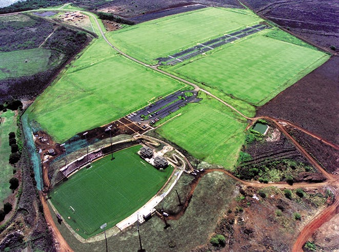 Aerial of stadium and soccer fields