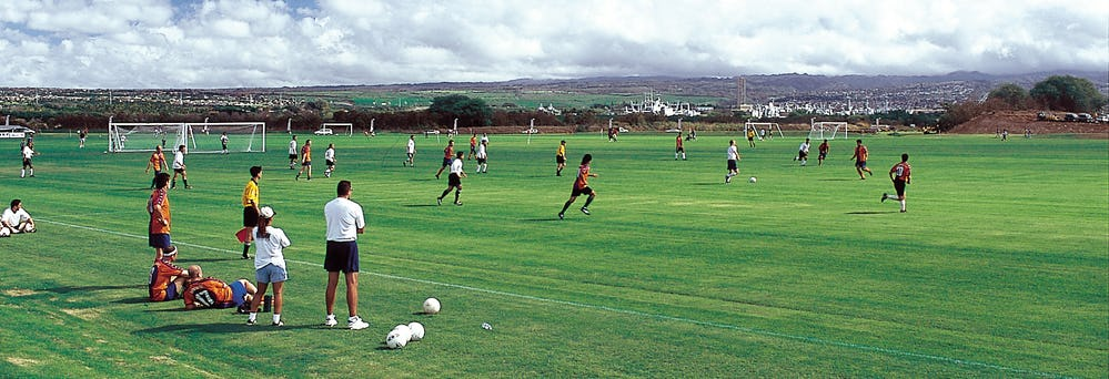 Players using Waipi'o Peninsula Soccer Complex
