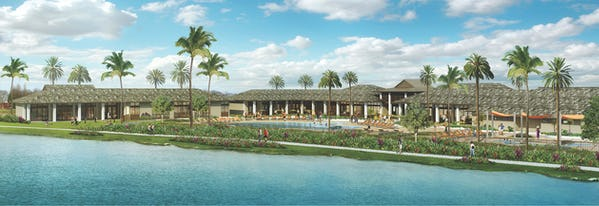Rendering view of the pool and splash pad from the ocean.