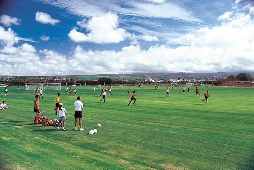 Players using Waipi'o Peninsula Soccer Complex