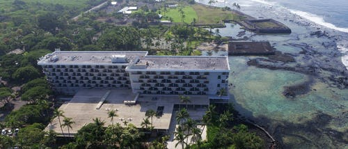 Aerial view of Hotel before demolition