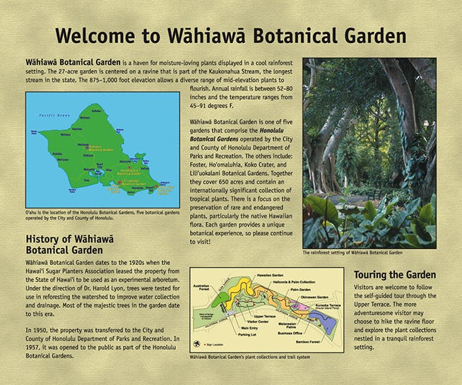 Signage providing history and additional information about the garden