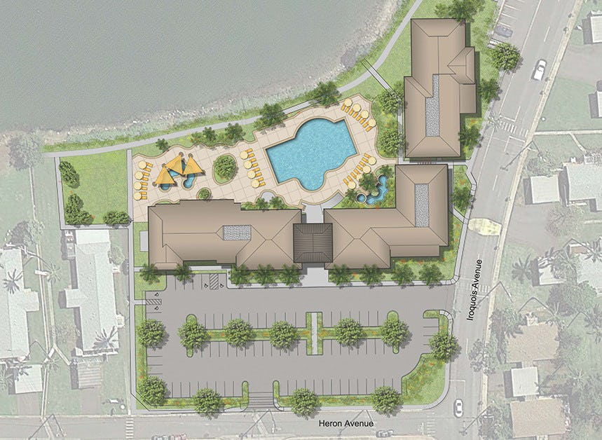 Colored site plan of the recreational facilities.