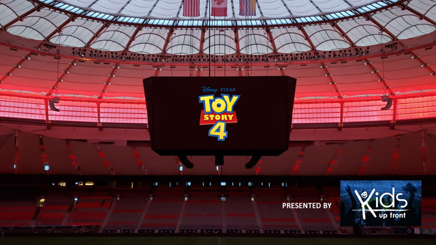 BC Place centerhung video screen with Toy Story 4 logo displayed