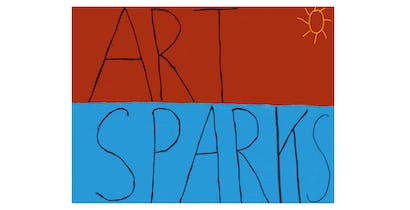 Art Sparks is written on a red and blue background. The word ART is handwritten in black capital letters over a red background in the top half of the image. The word SPARKS is handwritten in black capital letters over a blue background in the bottom half of the image. There is a yellow sun drawn in the upper right hand corner.