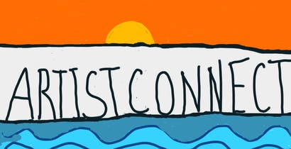 A digital painting with the words Artist Connect written in the centre. The words are written in black handwriting on a white background. Above the words there is an orange sky with a rising yellow sun. There are blue curving waves under the words. Under the waves there is a beach painted with brown circles.