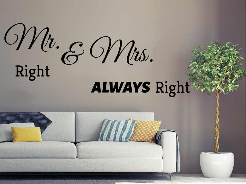 WANDTATTOO MR. RIGHT & MRS. ALLWAYS RIGHT