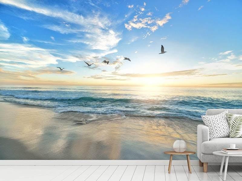 Fototapete Die Möwen und das Meer bei Sonnenaufgang