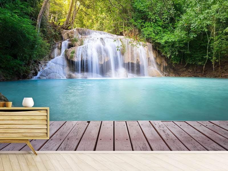 Fototapete Terrasse am Wasserfall