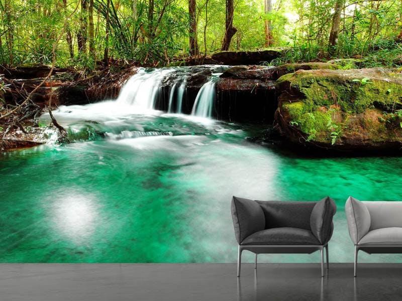 Fototapete Der Fluss am Wasserfall