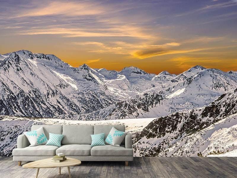 Fototapete Sonnenuntergang in den Bergen