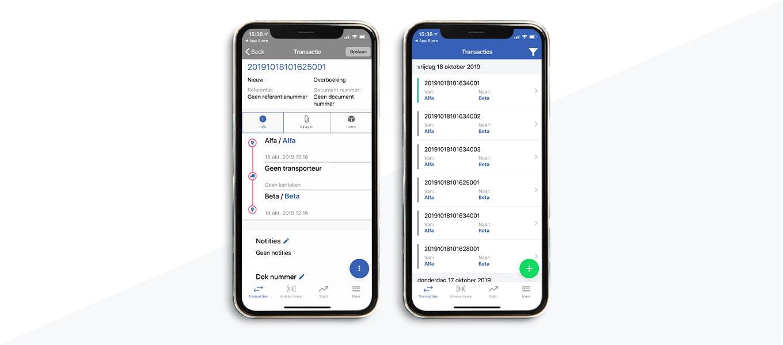 Emballage beheren registratie mobiele app