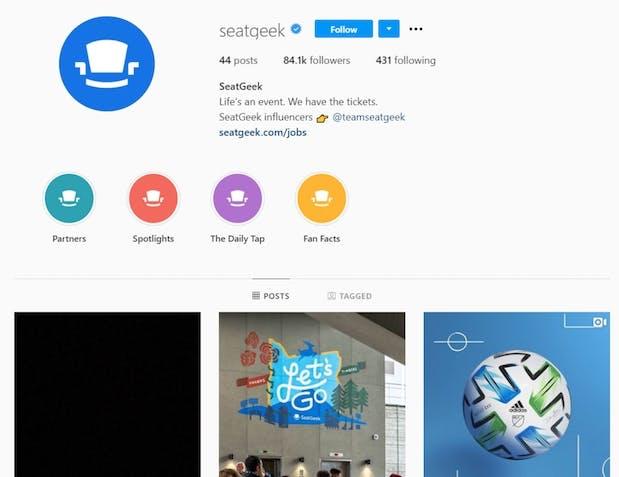 seatgeek's instagram page
