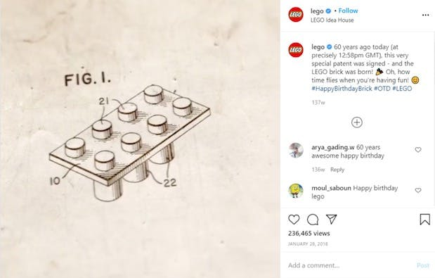 Example of logo placement next to Instagram captions
