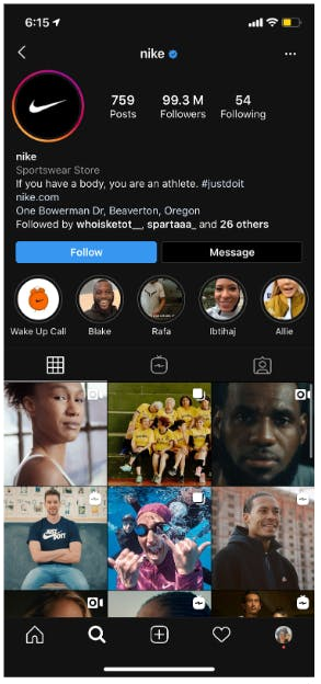 Nike's instagram feed