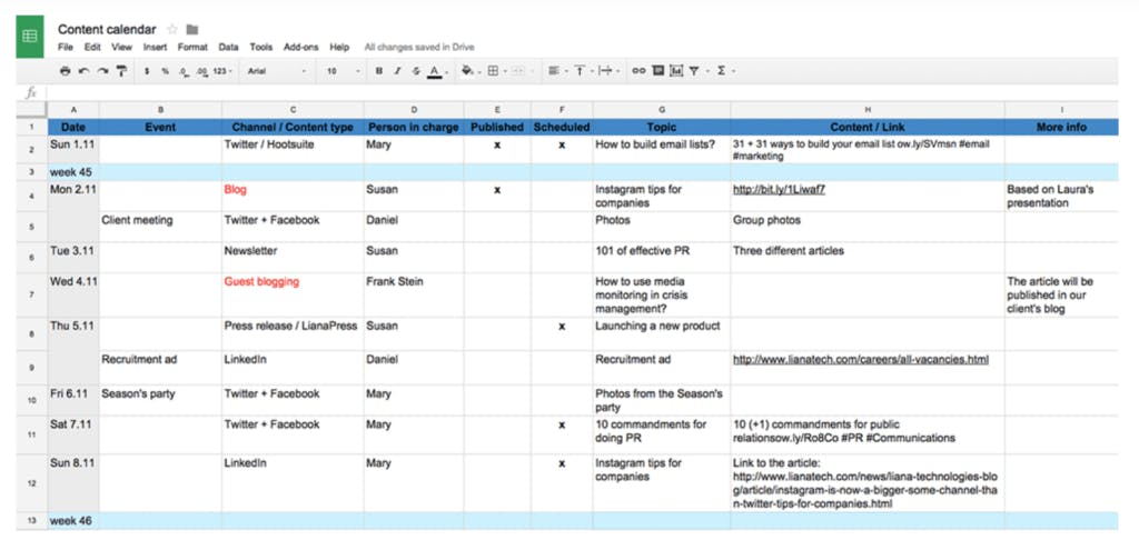 An example of a content calendar done on google excel