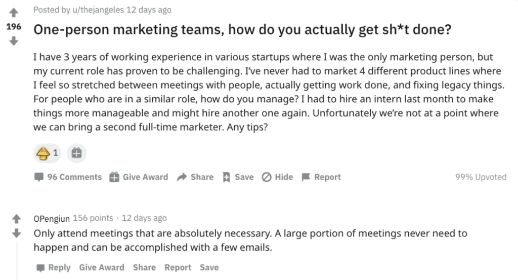 A reddit thread on r/marketing discussing how people manage as one-person marketing teams