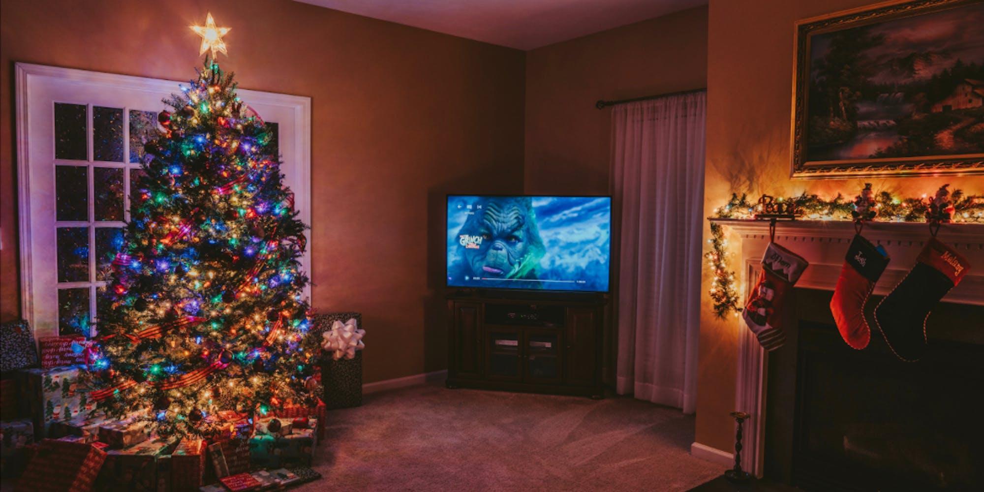Binge watching the grinch on christmas