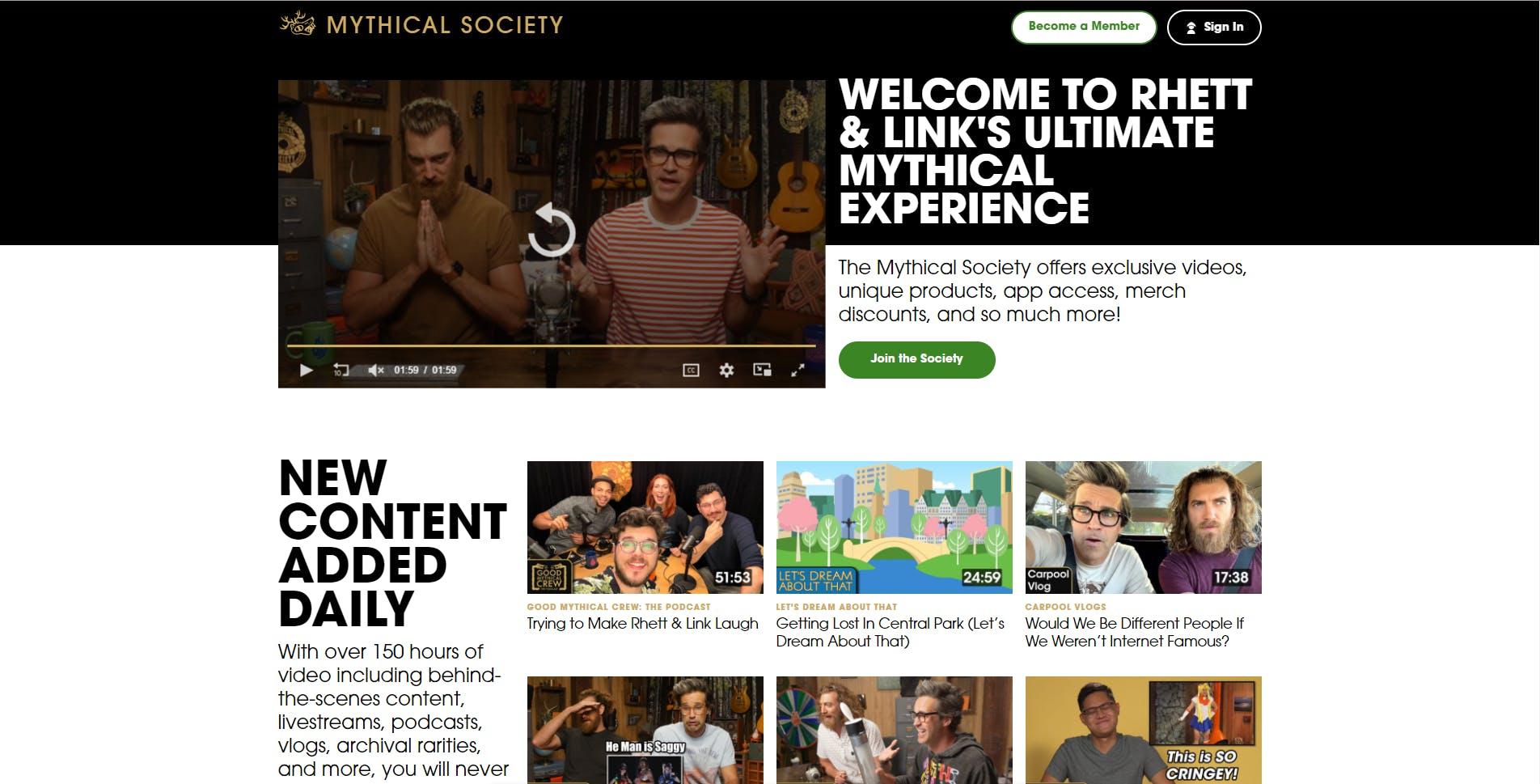 Mythical society website screenshot