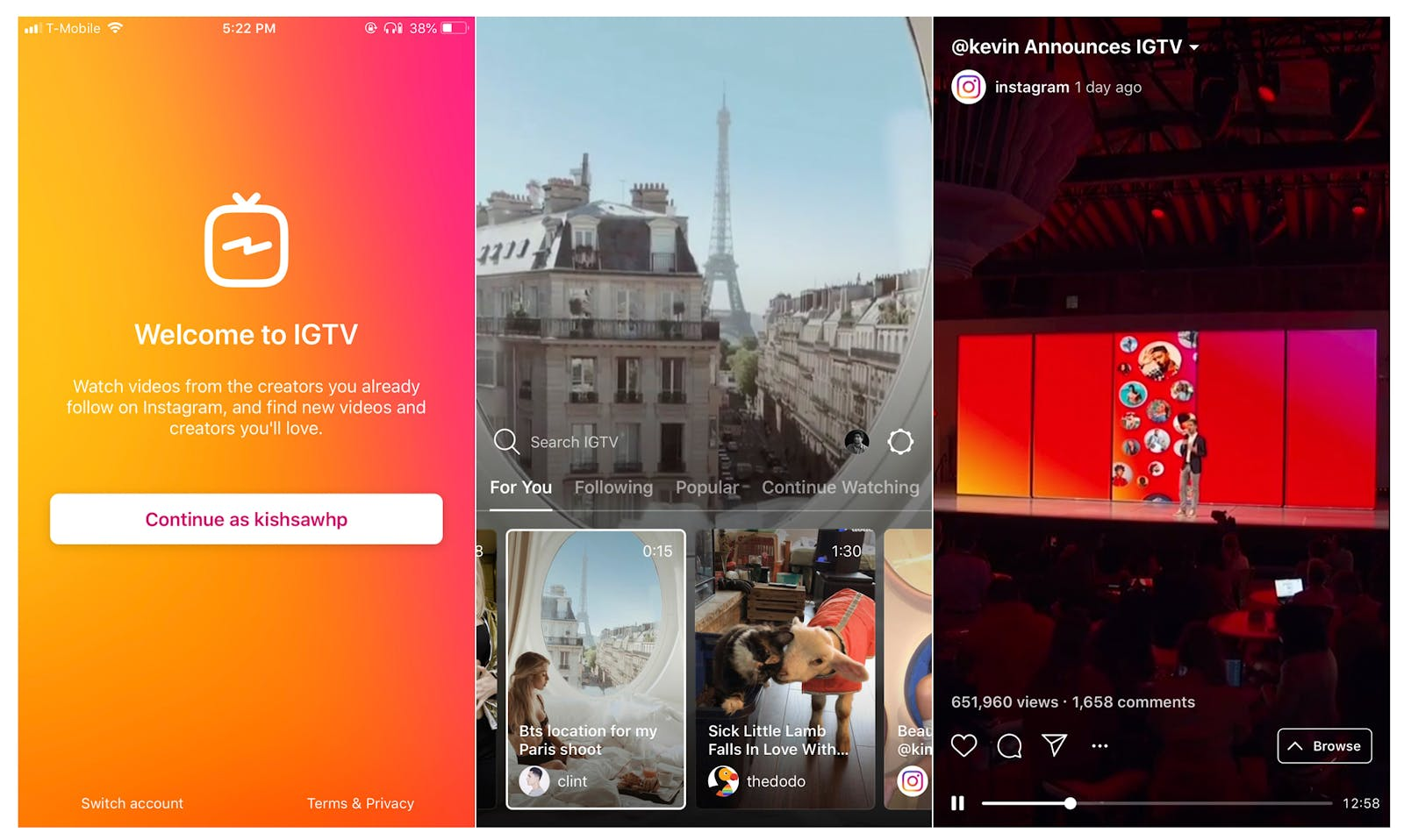 Examples of IGTV