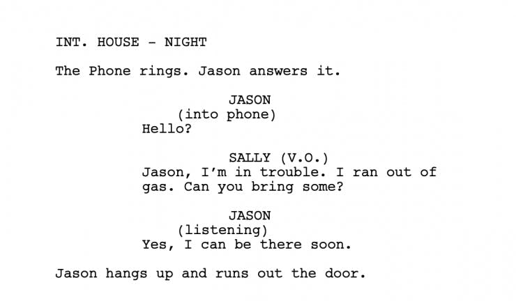 Example of a screenplay
