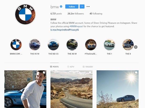 BMW's instagram feed