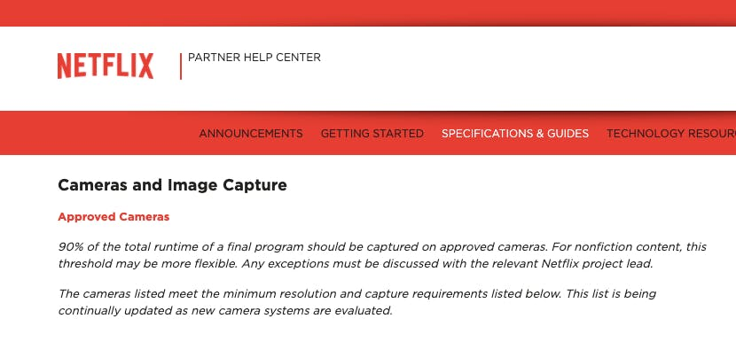 Netflix's speciation and guidelines on cameras and image capture