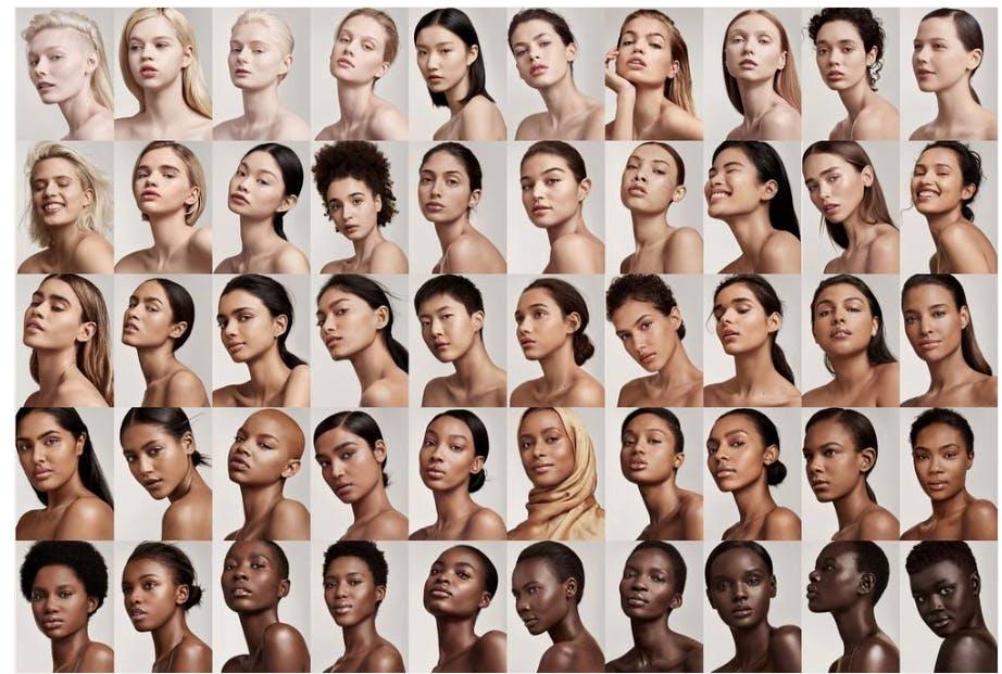 Fenty beauty's promotional photo showcasing a range of shades