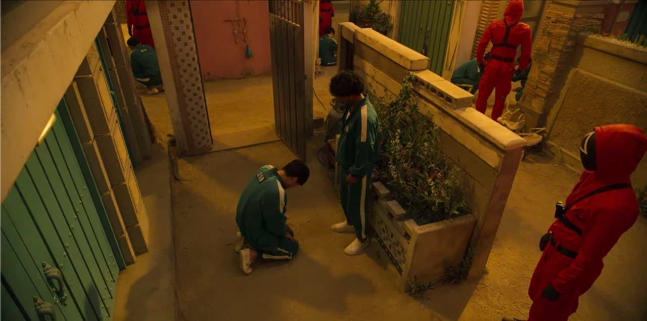 the squid game, sang woo begging ali in the marble game