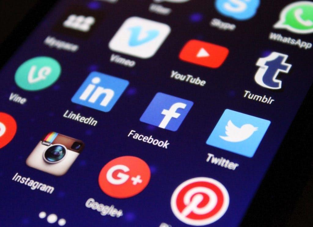Phone screen displaying various social media apps