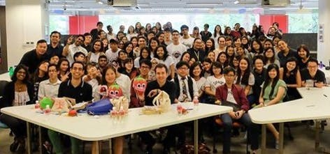 Kane was a guest speaker listening to student pitches from Singapore Polytechnic.