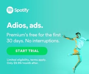 Spotify web banner for their free trial