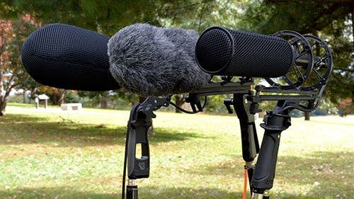 Shotgun microphones paired with zeppelins and windsocks