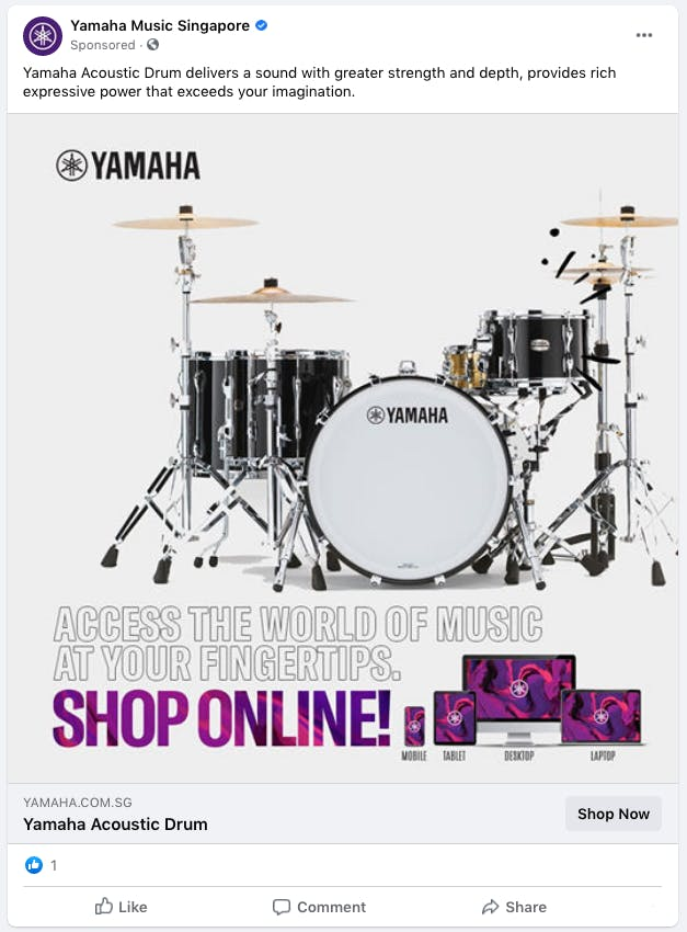 Yamaha Music Singapore's promotion on Facebook