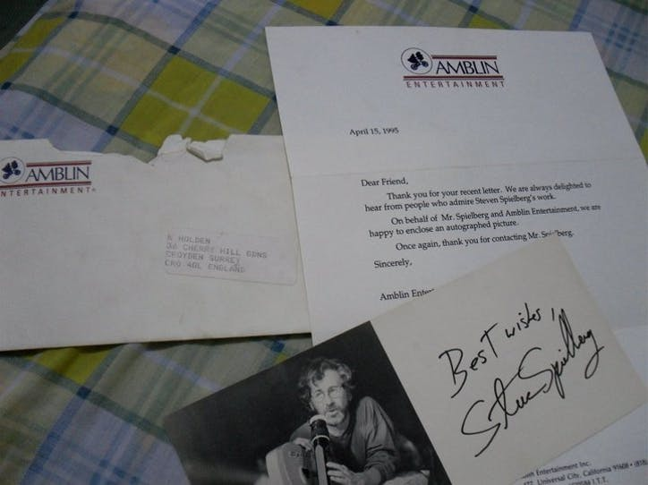 Kane's admiration letter to world-renowned Screenwriter, Director and Producer - Steven Spielberg