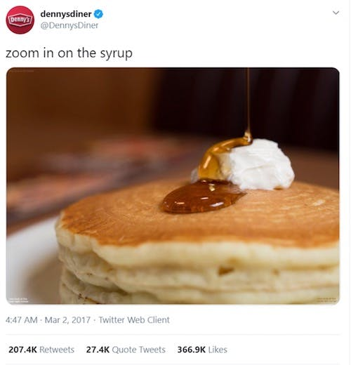 Denny's use of memes on their twitter account