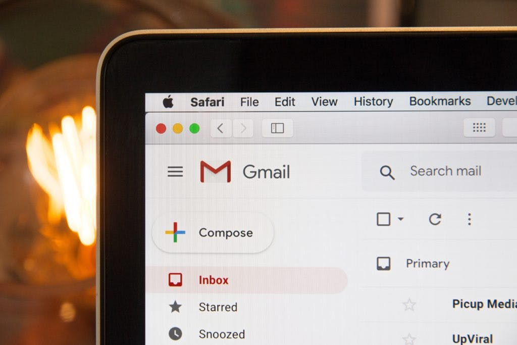 A photo of Gmail interface