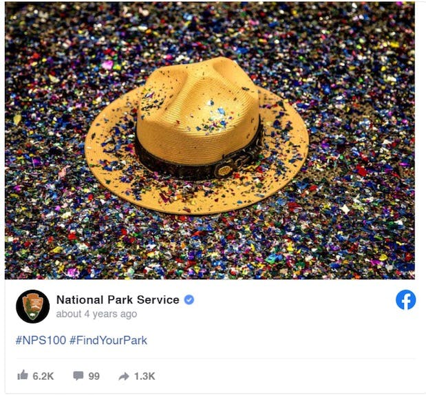 Example of National Park Service post