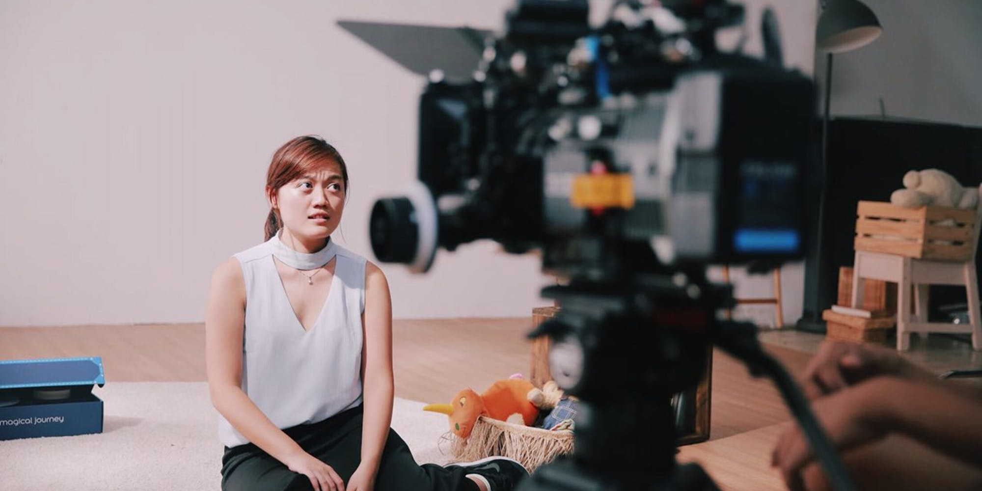 Behind the scene of a production shoot