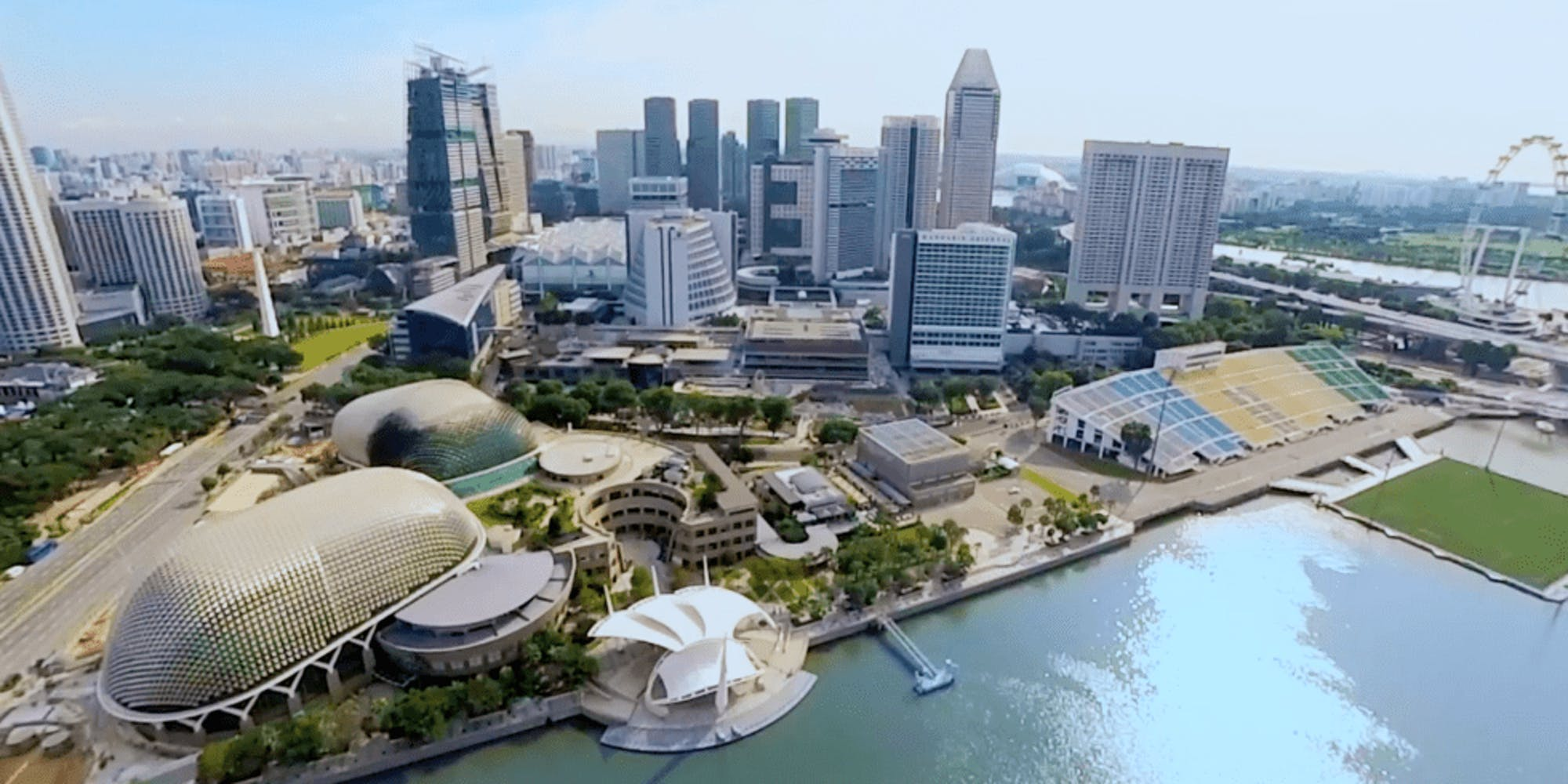 Aerial shot of Singapore's Esplanade and the floating platform