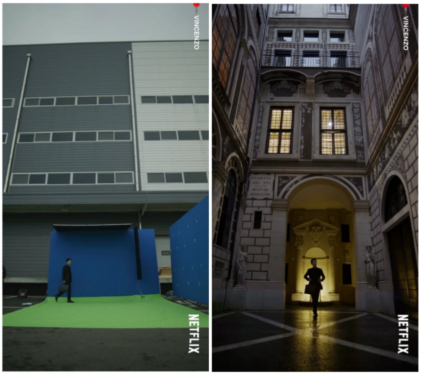 Before and after adding in CGI