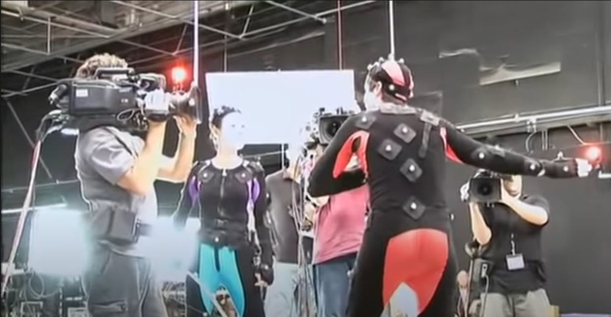 Avatar actors wearing motion tracking suits