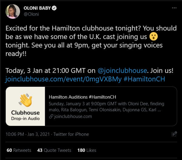 Clubhouse hamilton auditions