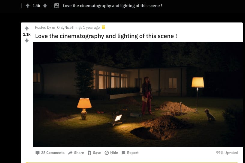 Examples of different dark shades in cinematography