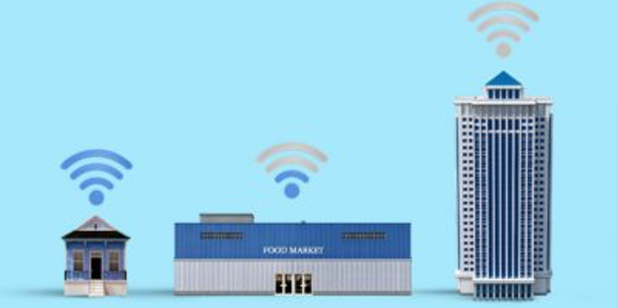 Diagram showing wifi and buildings