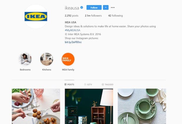 Ikea's Instagram page