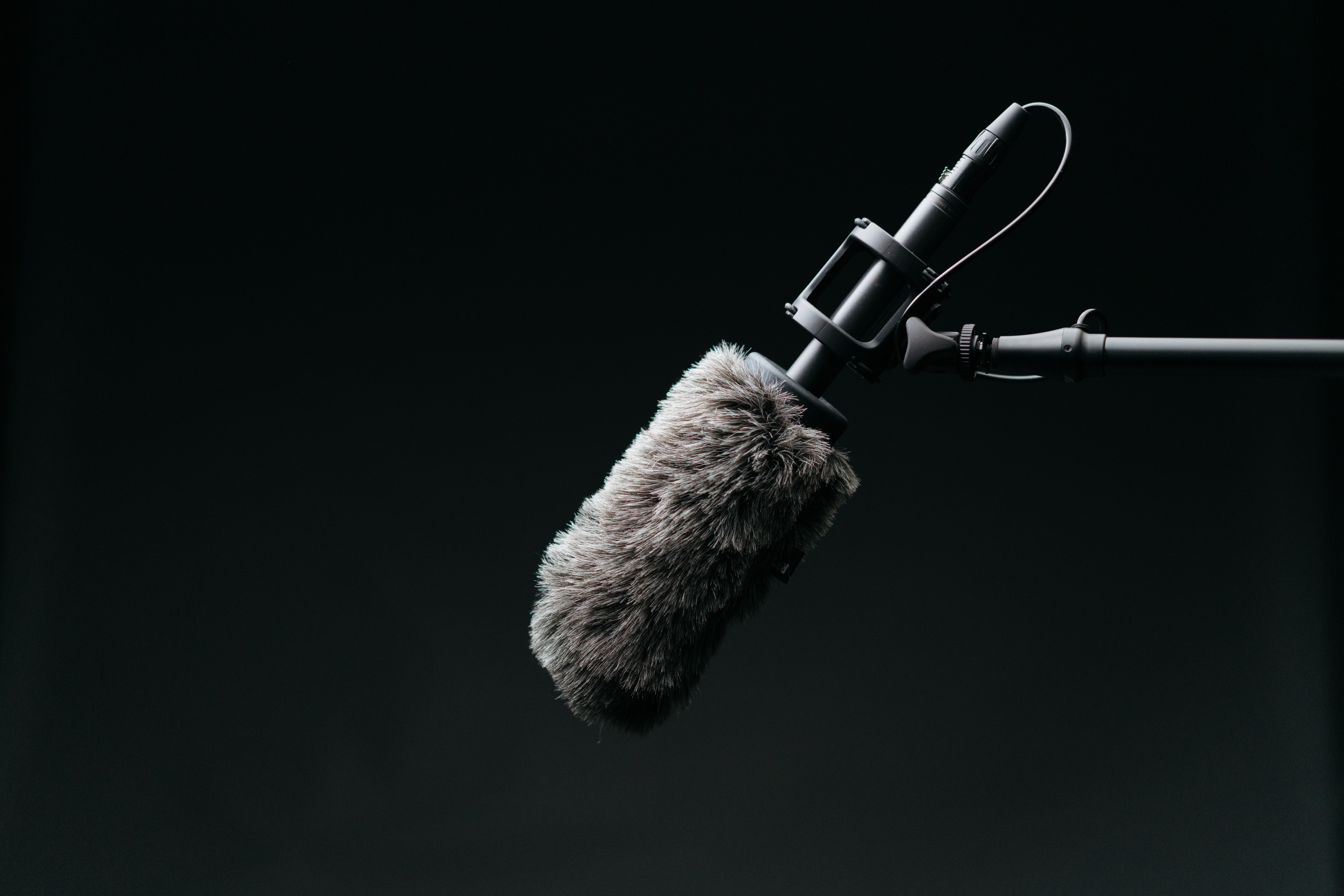 Example of a boom microphone used on set